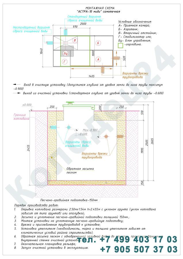 Монтажная схема септик Юнилос Астра 10 Миди