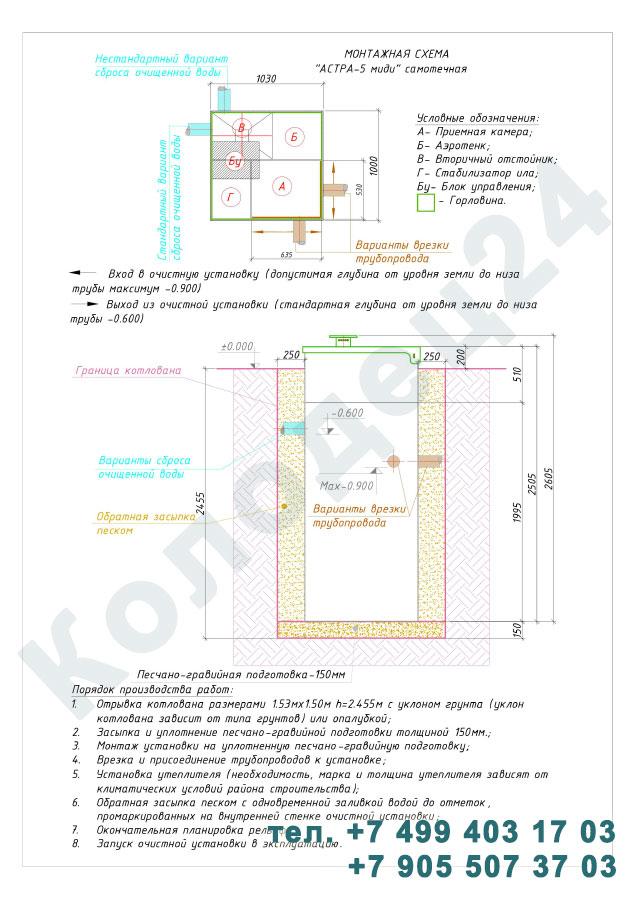Монтажная схема септик Юнилос Астра 5 Миди