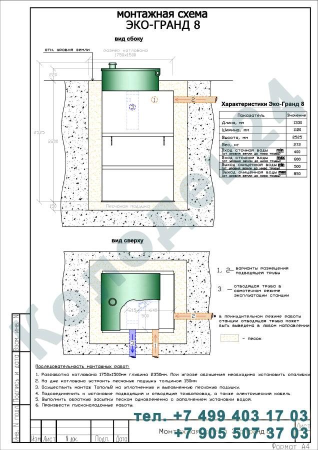 Монтажная схема септик Эко-Гранд (Тополь) 8