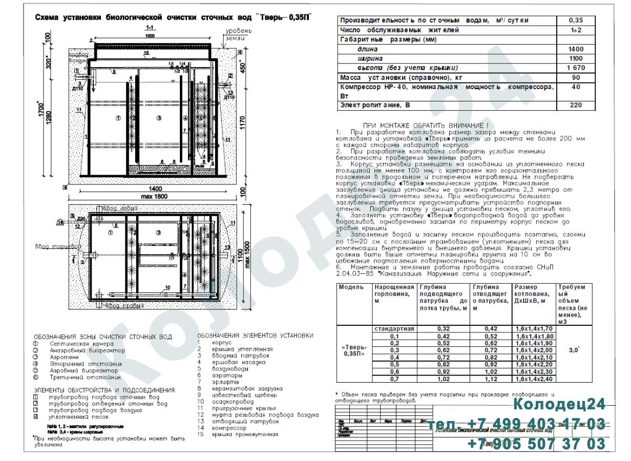 Монтажная схема септик Тверь-0,35П