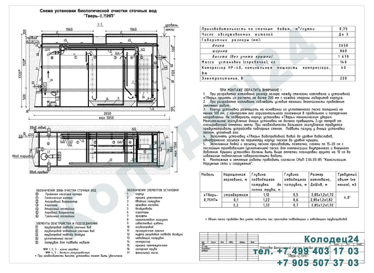 Монтажная схема септик Тверь-0,75НП