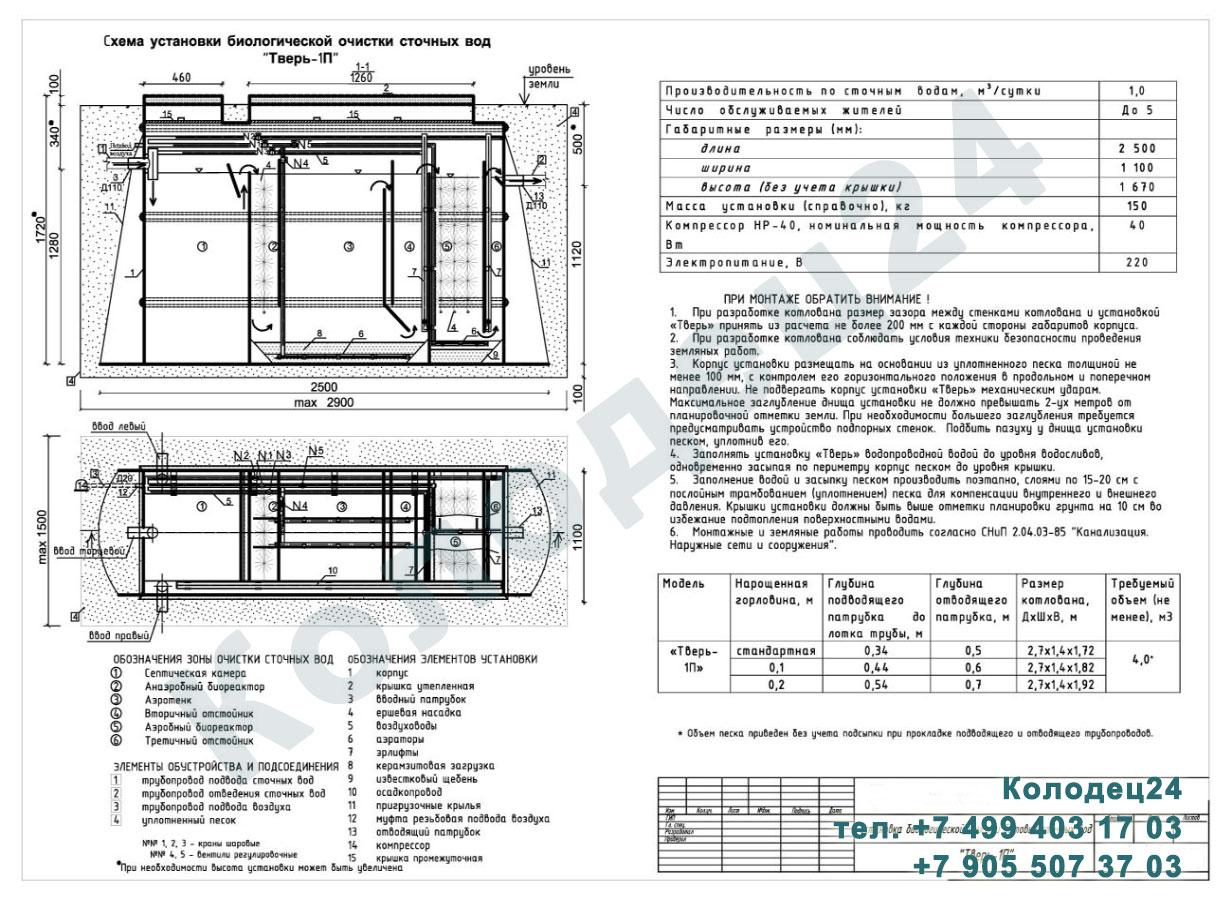 Монтажная схема септик Тверь-1П