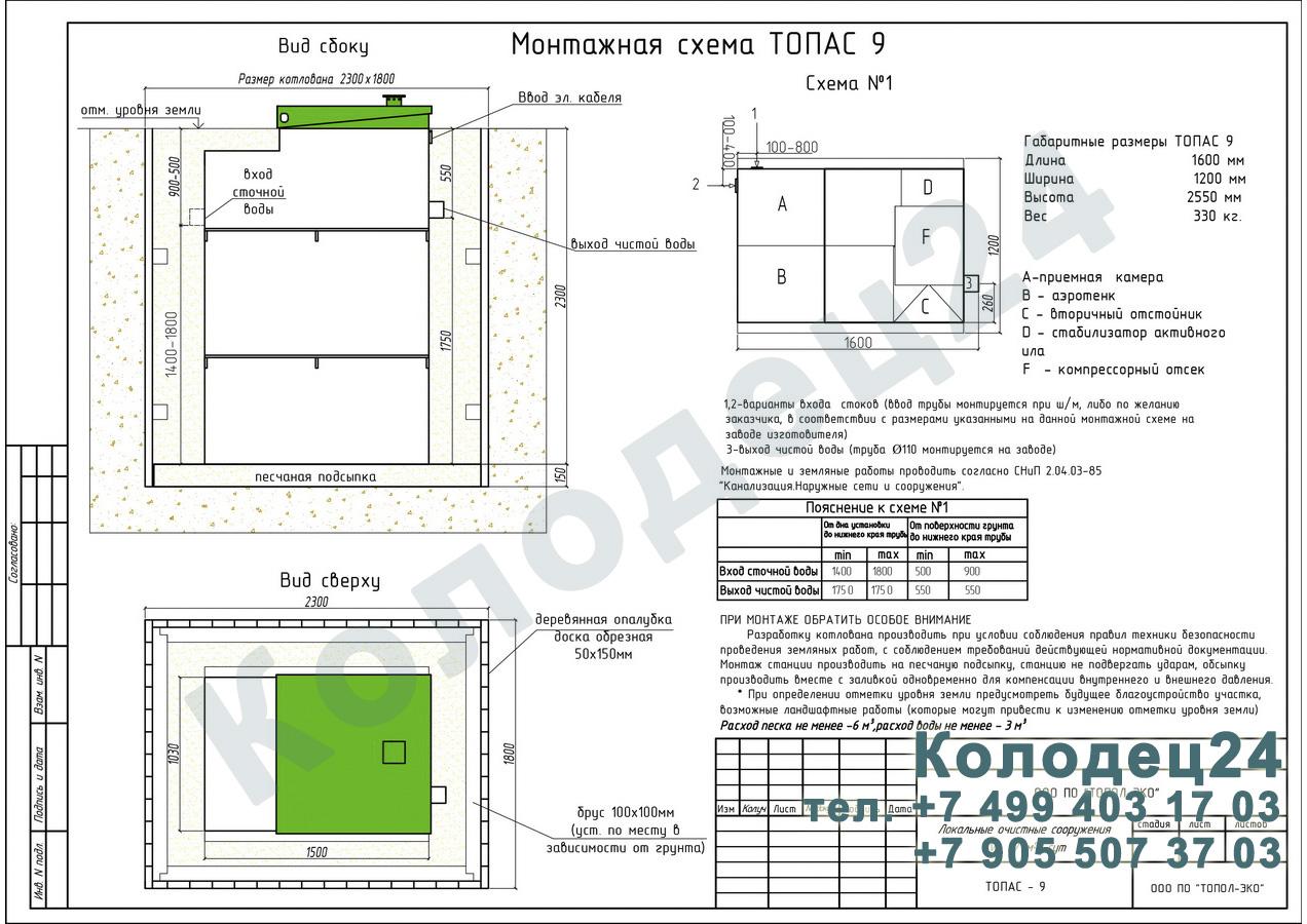 Монтажная схема септик Топас 9