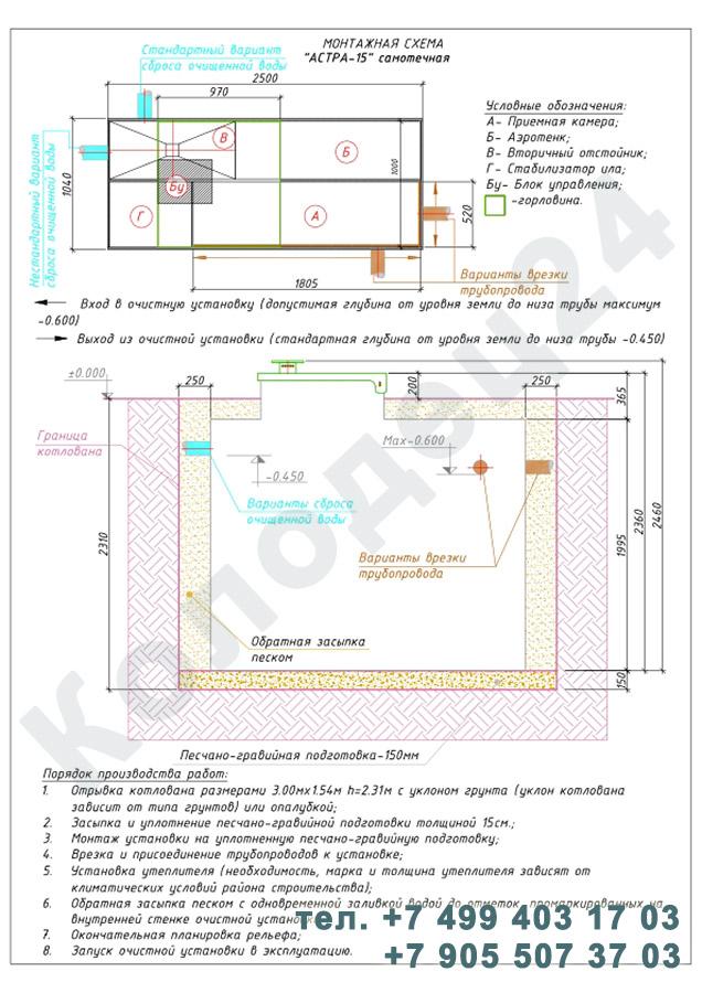 Монтажная схема септик Юнилос Астра 15