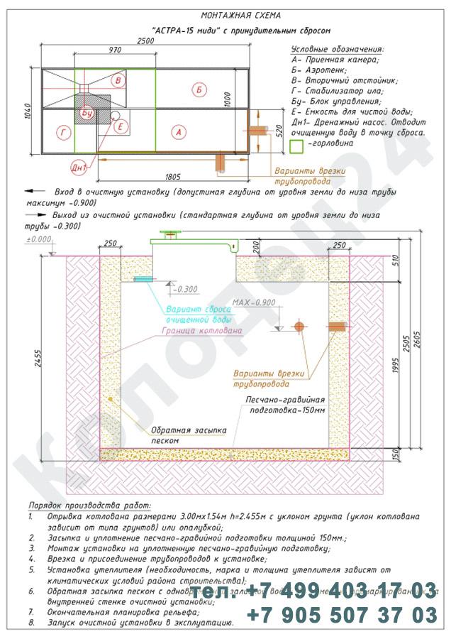 Монтажная схема септик Юнилос Астра 15 Миди Пр