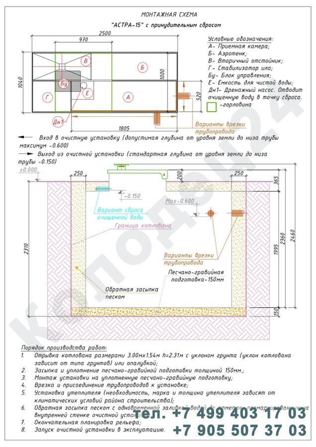 Монтажная схема септик Юнилос Астра 15 Пр