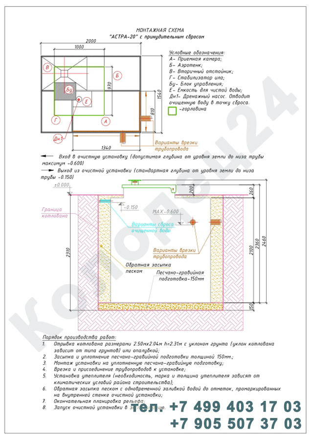 Монтажная схема септик Юнилос Астра 20 Пр