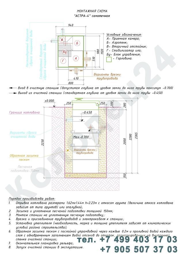 Монтажная схема септик Юнилос Астра 4