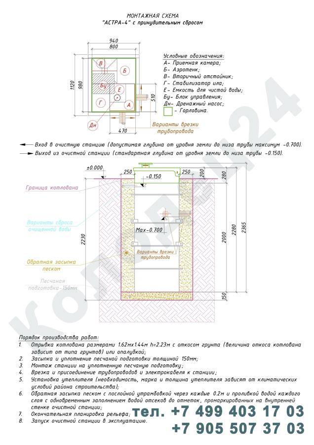 Монтажная схема септик Юнилос Астра 4 Пр
