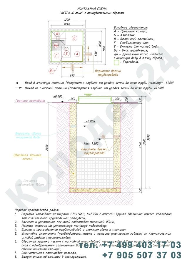 Монтажная схема септик Юнилос Астра 6 Лонг Пр