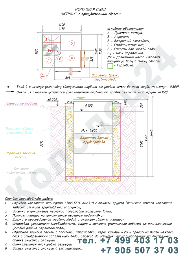 Монтажная схема септик Юнилос Астра 6 Пр