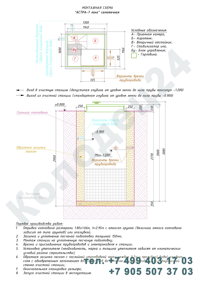 Монтажная схема септик Юнилос Астра 7 Лонг