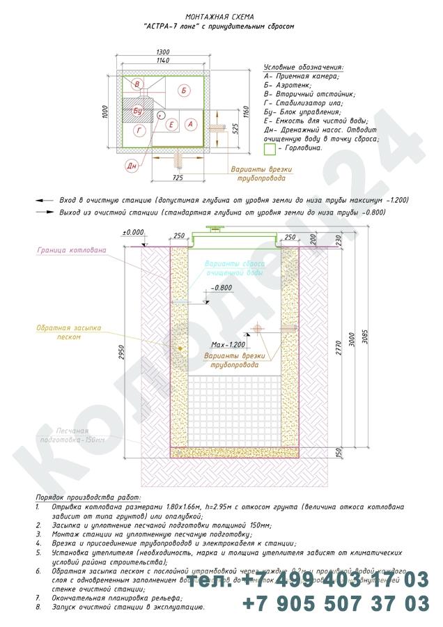Монтажная схема септик Юнилос Астра 7 Лонг Пр
