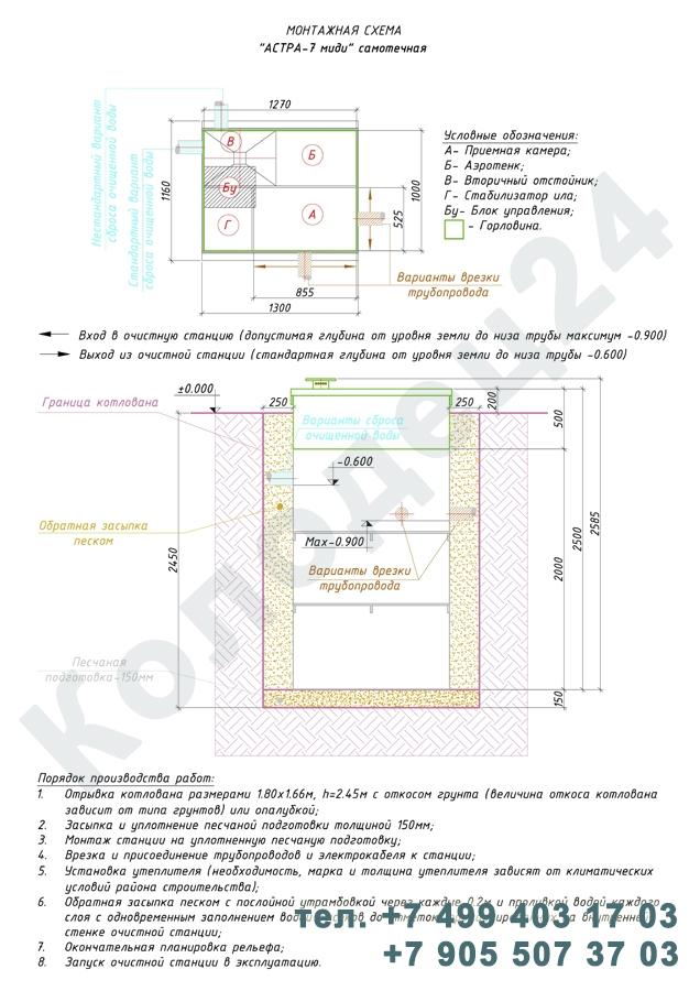 Монтажная схема септик Юнилос Астра 7 Миди