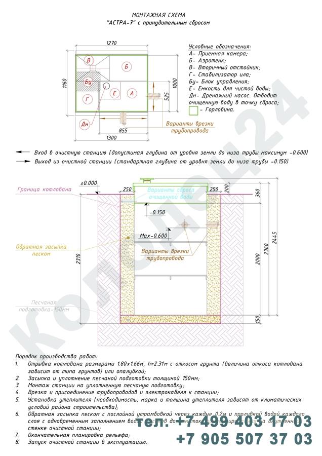 Монтажная схема септик Юнилос Астра 7 Пр