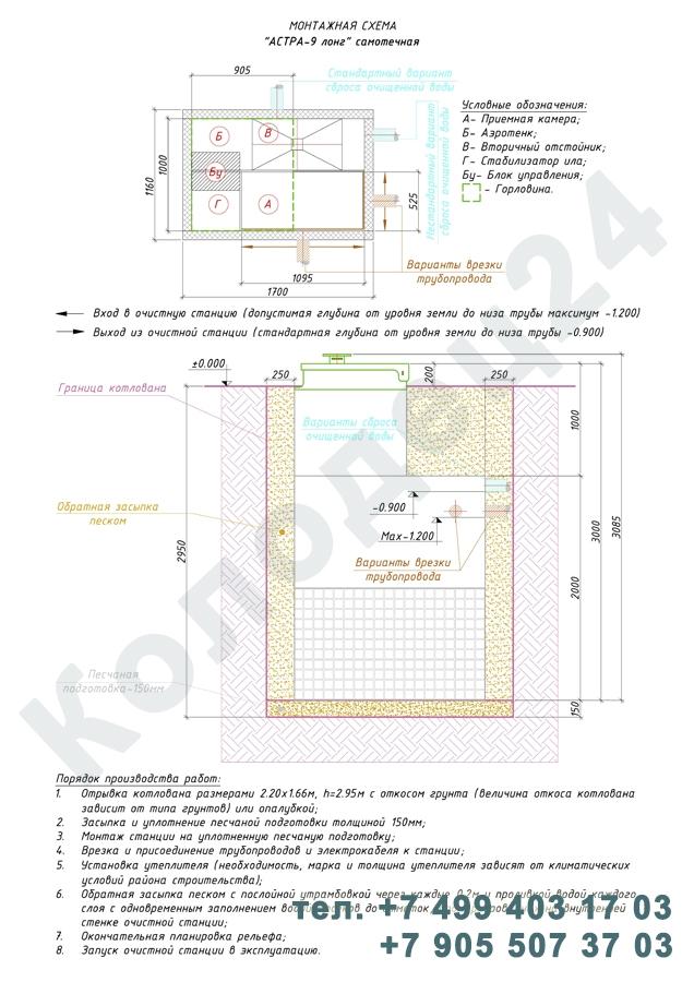Монтажная схема септик Юнилос Астра 9 Лонг