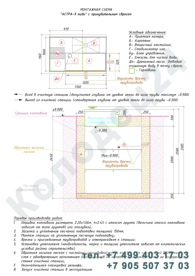 Монтажная схема септик Юнилос Астра 9 Миди Пр