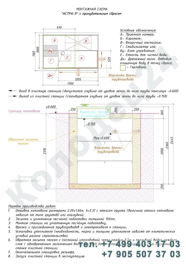 Монтажная схема септик Юнилос Астра 9 Пр